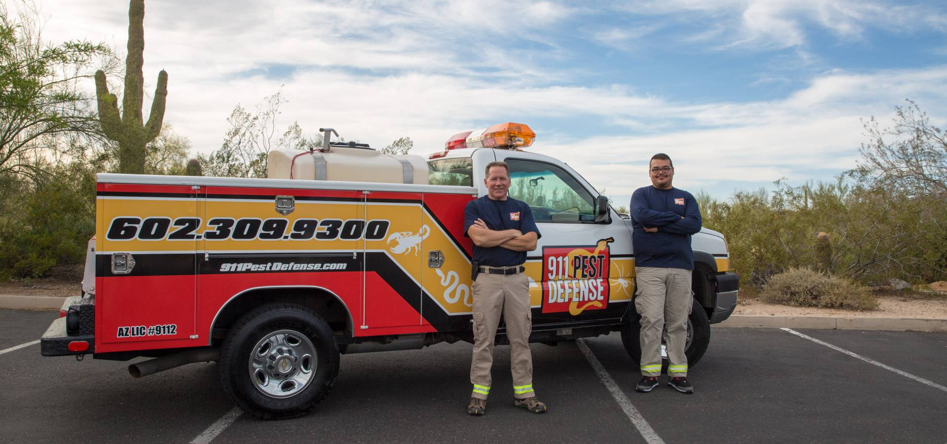 911 pest defense truck and pest control crew